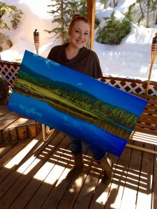 Jade Harris showing off her very first canvas print